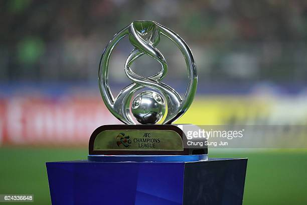 Champions League trophy is seen during the AFC Champions League Final 2016 1st leg match between Jeonbuk Hyundai Motor and Al Ain at Jeonju World Cup...