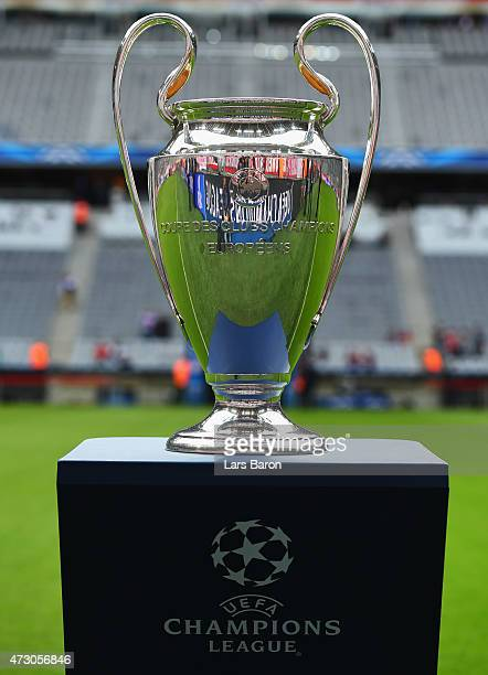 Champions League trophy on display prior to the UEFA Champions League semi final second leg match between FC Bayern Muenchen and FC Barcelona at...