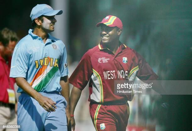 Indian Cricket Team Captain Rahul Dravid and West Indies Cricket Tem Captain Brian Lara during the tournament at Sardar Patel Gujarat Stadium...
