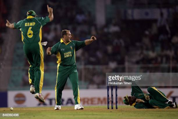 South African team celebrates after run out of Mahela Jayawardene in the ICC Champions Trophy at the Sardar Patel Gujarat Stadium Ahmedabad on Tuesday