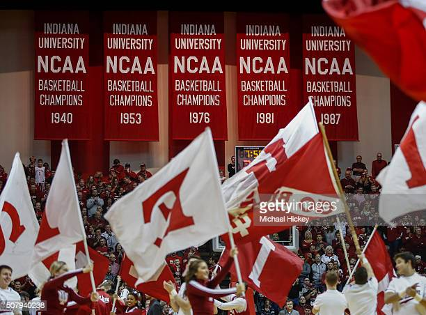 NCAA championship banners are seen during the Indiana Hoosiers versus Ohio State Buckeyes game in Assembly Hall on January 10 2016 in Bloomington...