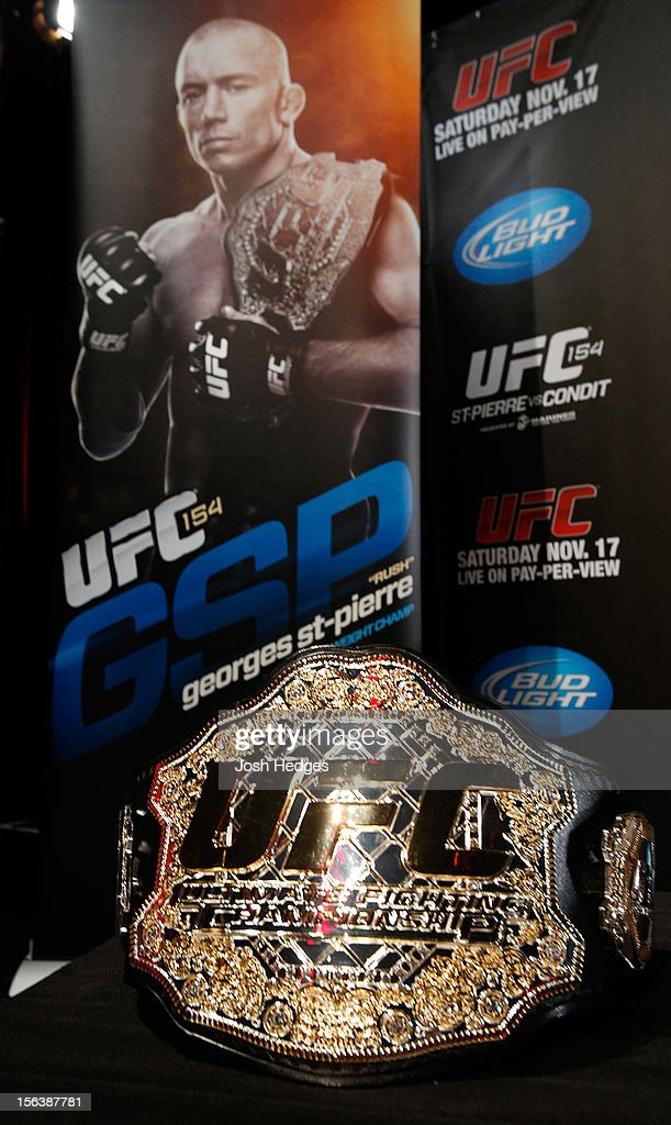 A UFC championship belt is seen during the final pre-fight press conference ahead of UFC 154 at New City Gas on November 14, 2012 in Montreal, Quebec, Canada.