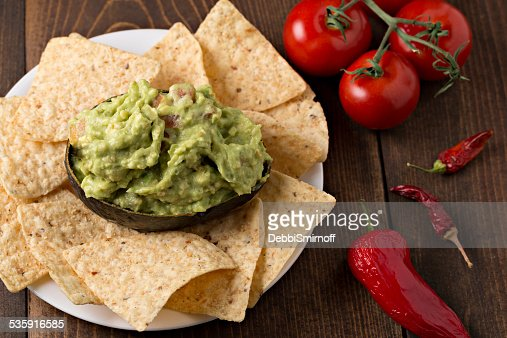 Super Bowl Guacamole And Chips : Stock Photo