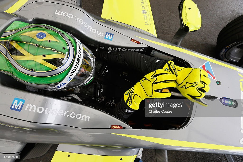 Championship leader Nelson Piquet jr of Brazil prepares for the second practice session on Day two of the 2015 FIA Formula E Visa London ePrix...