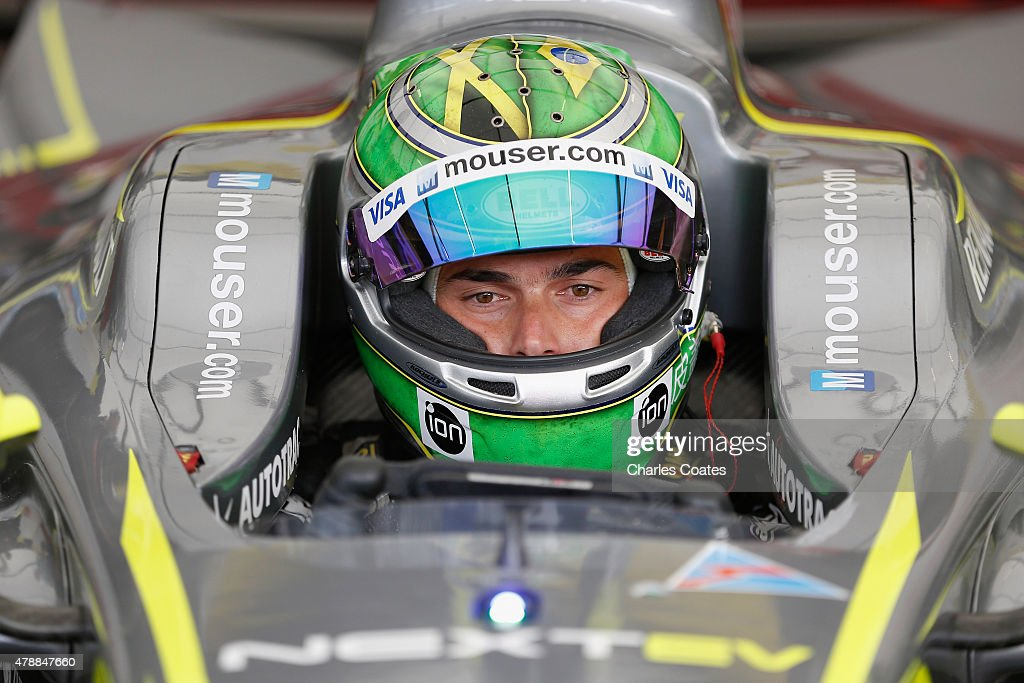 Championship leader Nelson Piquet jr of Brazil sits in his car during first practice on day two of the 2015 FIA Formula E Visa London ePrix...