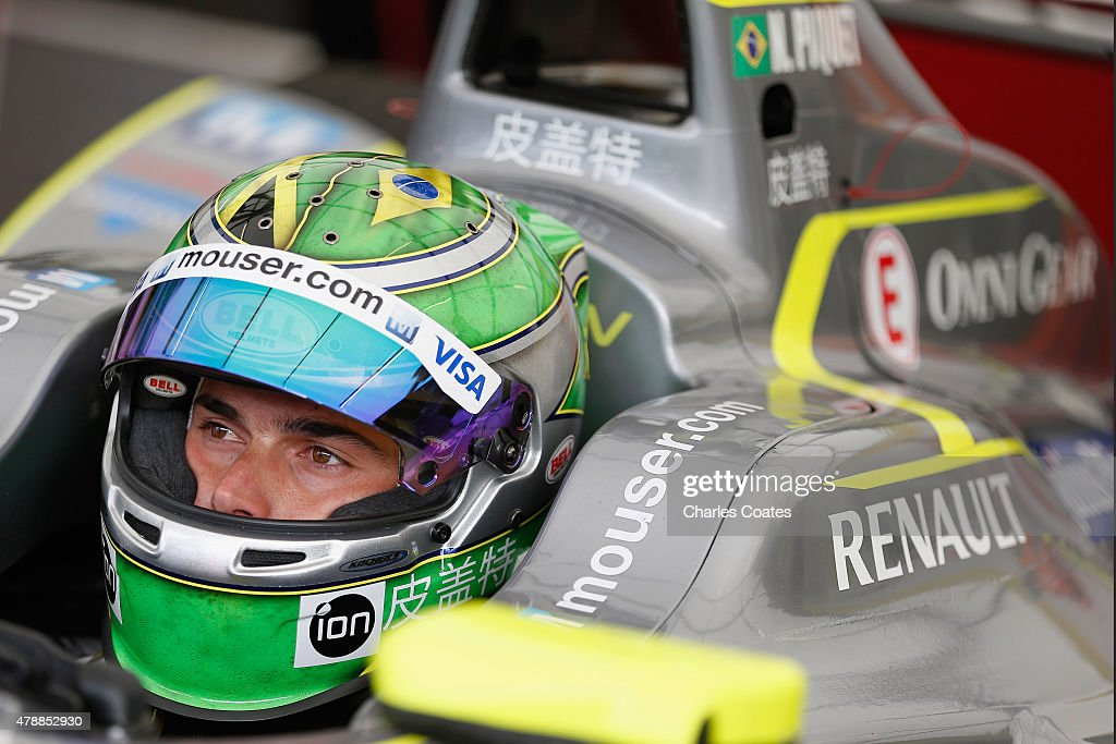 Championship leader Nelson Piquet jr of Brazil sits in his car during first practice on day two of 2015 FIA Formula E Visa London ePrix Championship...