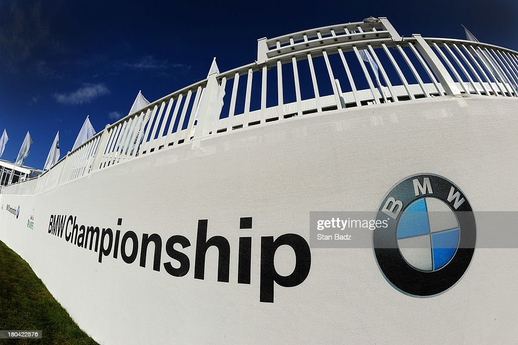 BMW Championship signage is displayed on the 18th hole during the first round of the BMW Championship at Conway Farms Golf Club on September 12, 2013 in Lake Forest, Illinois.
