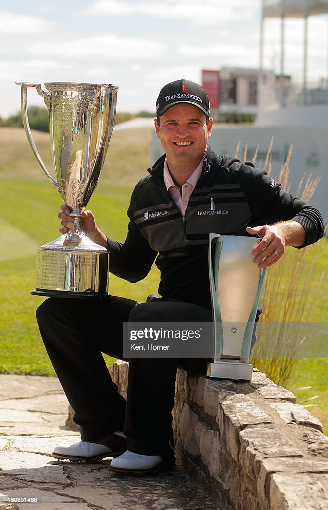 Championship winner <a gi-track='captionPersonalityLinkClicked' href=/galleries/search?phrase=Zach+Johnson+-+Golfer&family=editorial&specificpeople=217976 ng-click='$event.stopPropagation()'>Zach Johnson</a> with the winnerâs trophies, the J.K. Wadley Trophy and the BMW Trophy, at the BMW Championship at Conway Farms Golf Club on September 16, 2013 in Lake Forest, Illinois.