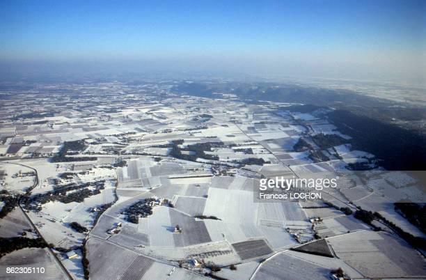 Champs couverts de neige en Provence en novembre 1999 France