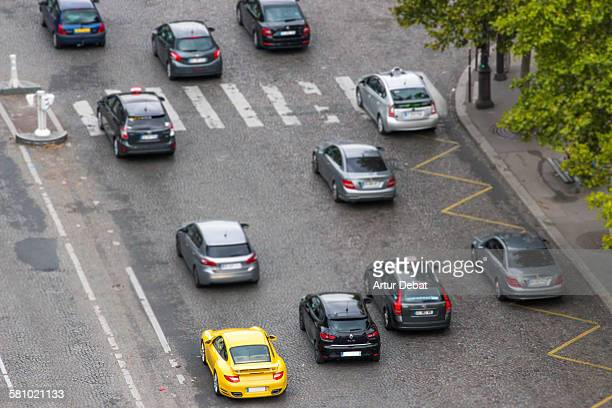 Champs Elysees avenue traffic with overhead view