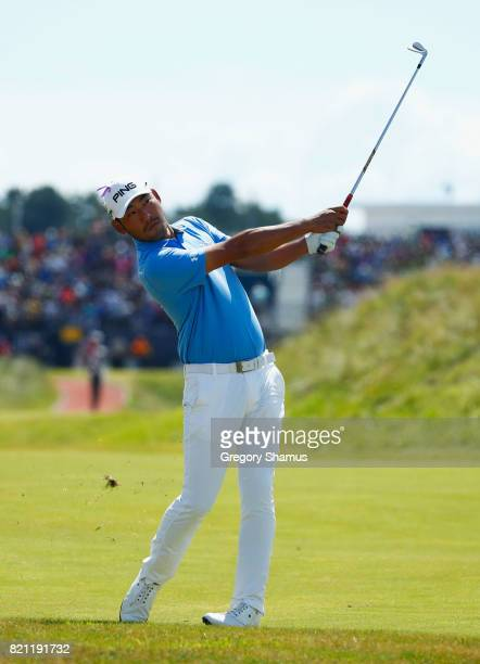 Chan Kim of the United States hits his second shot on the 1st hole during the final round of the 146th Open Championship at Royal Birkdale on July 23...