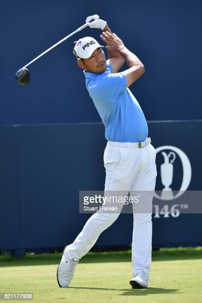 Chan Kim of the United States hits his tee shot on the 1st hole during the final round of the 146th Open Championship at Royal Birkdale on July 23...