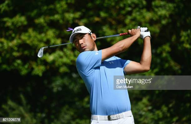 Chan Kim of the United States hits his tee shot on the 5th hole during the final round of the 146th Open Championship at Royal Birkdale on July 23...