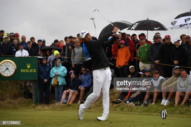 Chan Kim of the United States on the 14th tee during the final round of the 146th Open Championship at Royal Birkdale on July 23 2017 in Southport...