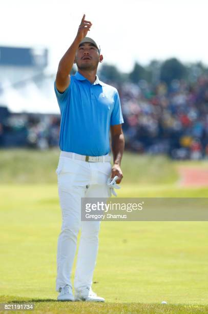 Chan Kim of the United States points on the 1st hole during the final round of the 146th Open Championship at Royal Birkdale on July 23 2017 in...