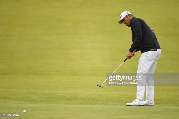 Chan Kim of the United States putts on the 13th green during the final round of the 146th Open Championship at Royal Birkdale on July 23 2017 in...