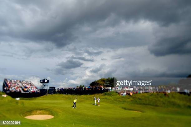 Chan Kim of the United States putts on the 17th green during the third round of the 146th Open Championship at Royal Birkdale on July 22 2017 in...