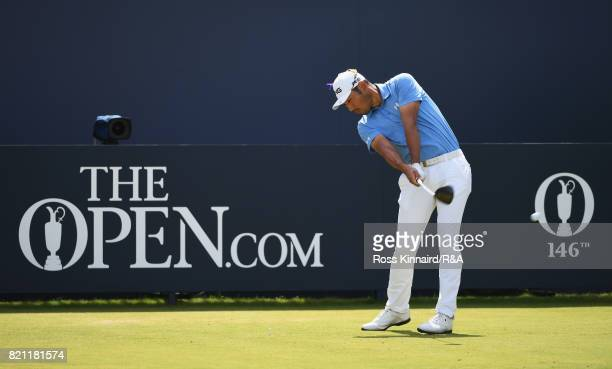 Chan Kim of the United States tees off on the 1st hole during the final round of the 146th Open Championship at Royal Birkdale on July 23 2017 in...