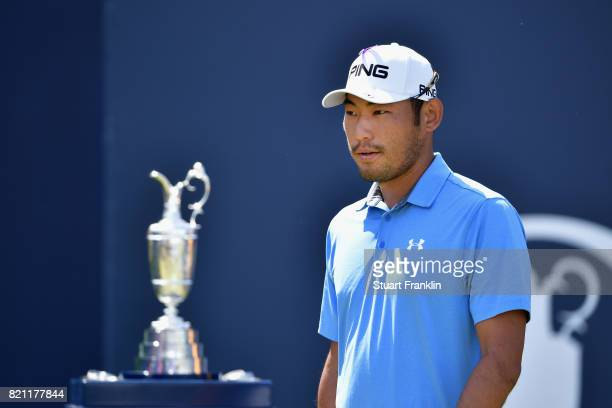 Chan Kim of the United States walks onto the 1st tee during the final round of the 146th Open Championship at Royal Birkdale on July 23 2017 in...