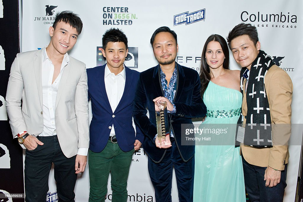 Chan Than San, Byron Pang, Scud, Leni Speidel, and Haze Leung attends the Q Hugo Film awards at The Center on Halsted on October 21, 2013 in Chicago, Illinois.