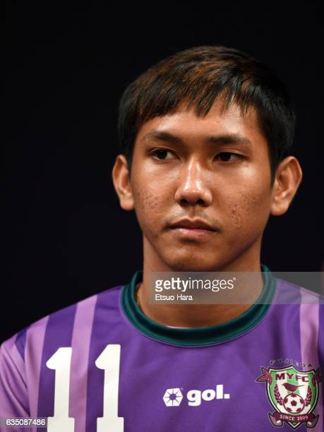 Chan Vathanaka of Fujieda MYFC looks on during the JLeague Kick Off Conference at Tokyo International Forum on February 13 2017 in Tokyo Japan