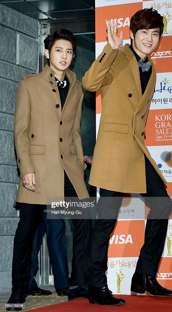 Chan Yeol and Su Ho of South Korean boy band EXO-K attend the 22nd High1 Seoul Music Awards at SK Handball Arena on January 31, 2013 in Seoul, South Korea.