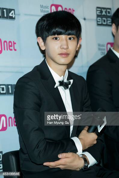 Chan Yeol of boy band EXO attends the press conference for Mnet EXO 902014 at CJ EM Center on August 11 2014 in Seoul South Korea The program will...