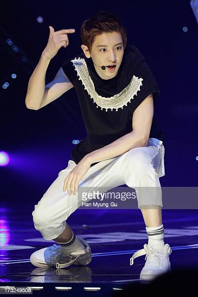 Chan Yeol of boy band EXO performs onstage during the MBC Music 'Show Champion' at Uniqlo AXHall on July 10 2013 in Seoul South Korea