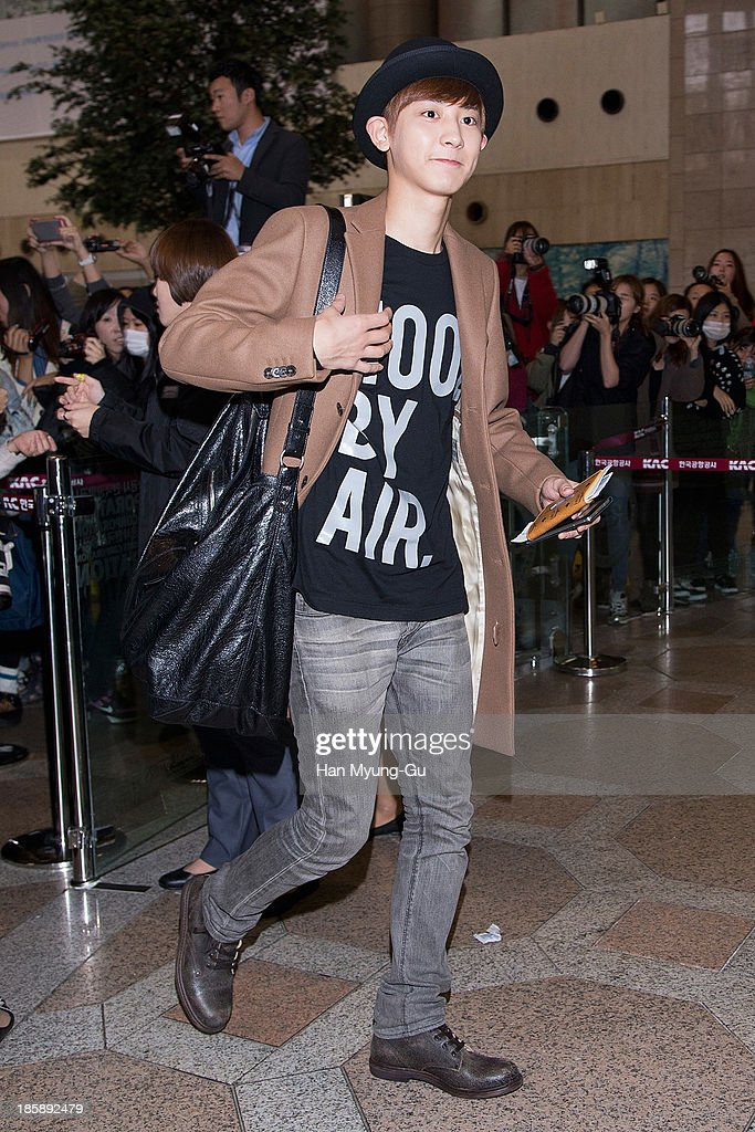 Chan Yeol of South Korean boy band EXO-K is seen on departure at Gimpo International Airport on October 25, in Seoul, South Korea.