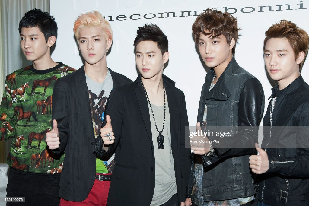 Chan Yeol, Se Hun, Su Ho, Kai and D.O. of South Korean boy band EXO-K attend the 'Suecomma Bonnie' 10th Anniversary Exhibition at Conrad Hotel on March 29, 2013 in Seoul, South Korea.