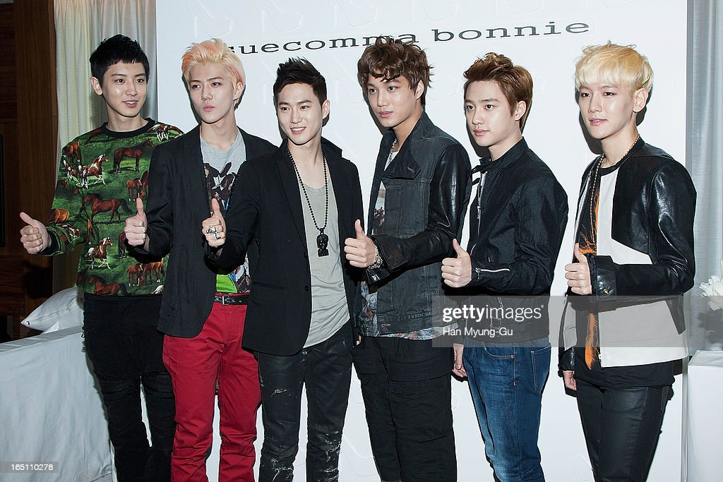 Chan Yeol, Se Hun, Su Ho, Kai, D.O. and Baek Hyun of South Korean boy band EXO-K attend the 'Suecomma Bonnie' 10th Anniversary Exhibition at Conrad Hotel on March 29, 2013 in Seoul, South Korea.