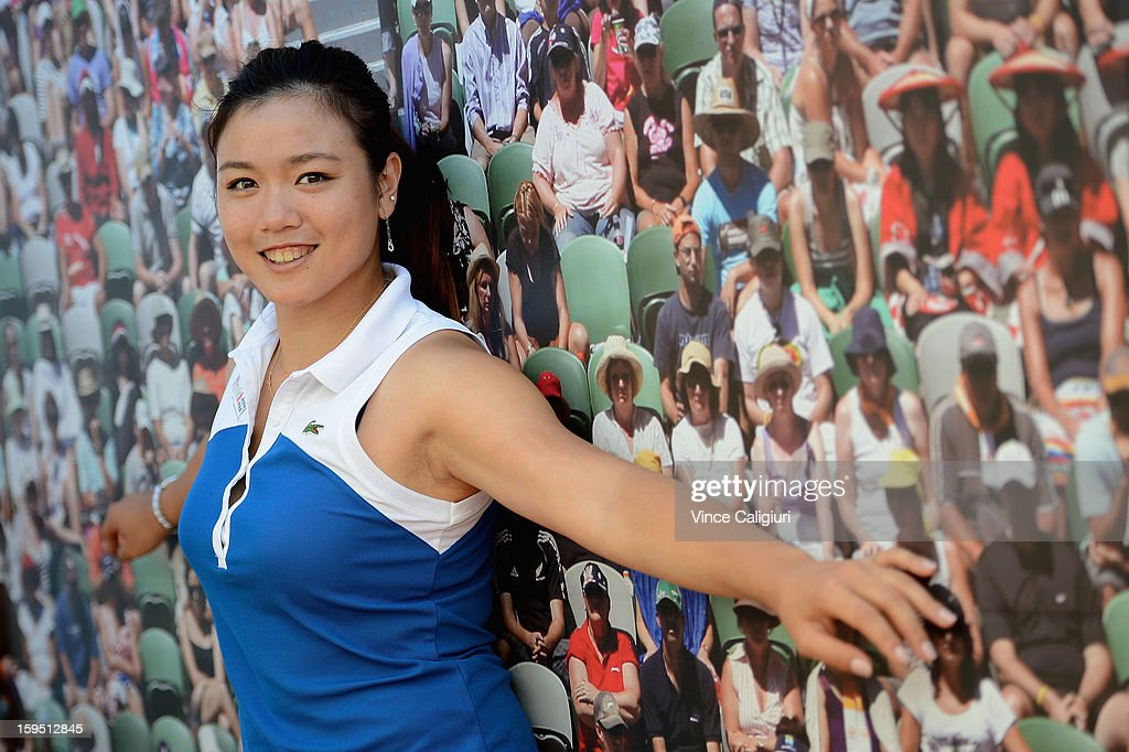 Chan Yungjan of Chinese Taipei poses at Grand Slam Oval Dove activation during day two of the 2013 Australian Open at Melbourne Park on January 15...