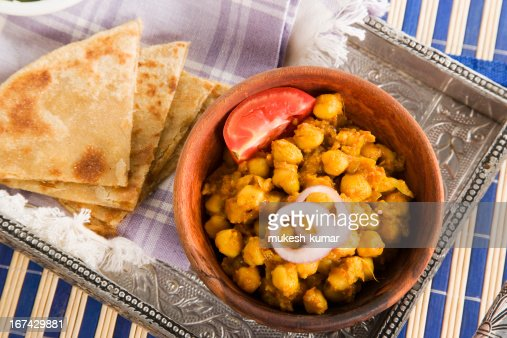 Chana masala with Paratha : Stock Photo