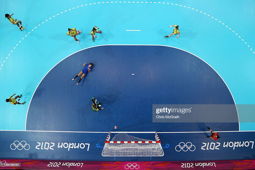 Chana Masson of Brazil blocks a shot in the Women's Handball preliminaries Group A - Match 3 between Croatia and Brazil on Day 1 of the London 2012 Olympic Games at the Copper Box on July 28, 2012 in London, England.