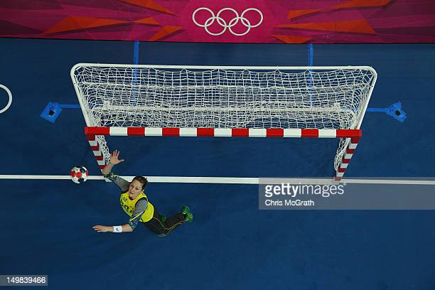 Chana Masson of Brazil makes a save during the Women's Handball Preliminaries Group A match between Brazil and Angola on Day 9 of the London 2012...