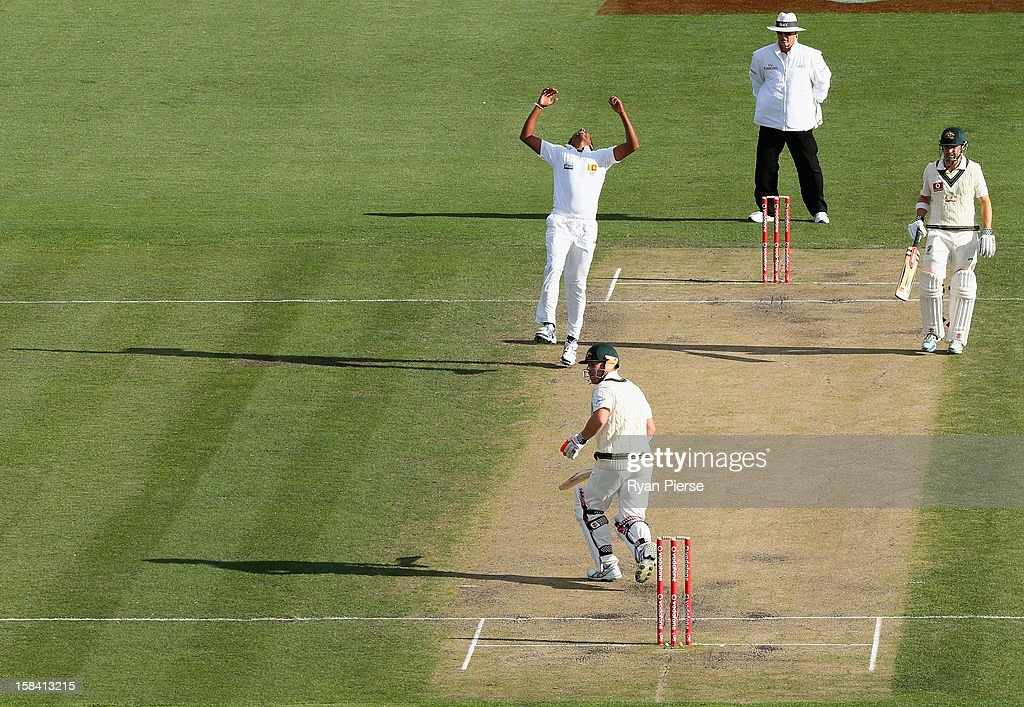 Chanaka Welagedara of Sri Lanka looks dejected after David Warner of Australia edged a shot over the slips during day three of the First Test match between Australia and Sri Lanka at Blundstone Arena on December 16, 2012 in Hobart, Australia.