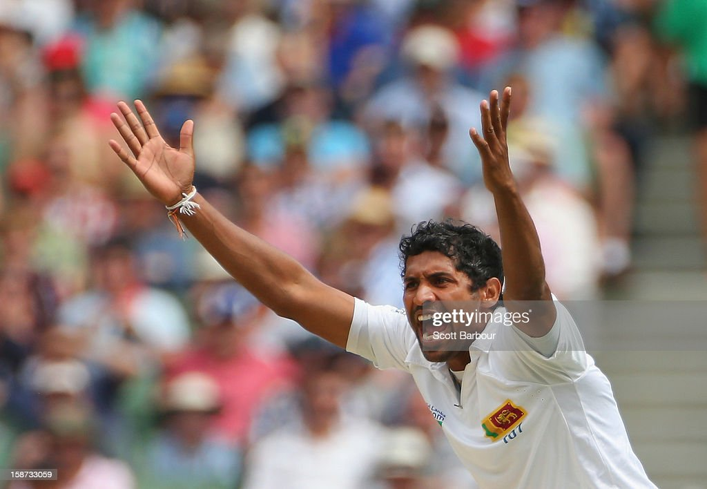 <a gi-track='captionPersonalityLinkClicked' href=/galleries/search?phrase=Chanaka+Welegedara&family=editorial&specificpeople=4436467 ng-click='$event.stopPropagation()'>Chanaka Welegedara</a> of Sri Lanka appeals during day two of the Second Test match between Australia and Sri Lanka at Melbourne Cricket Ground on December 27, 2012 in Melbourne, Australia.