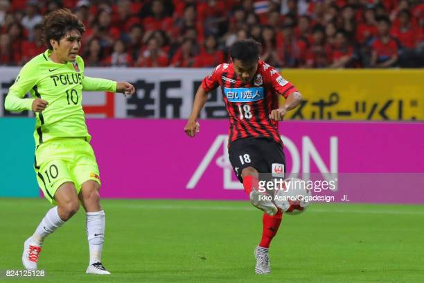 Chanathip Songkrasin of Consadole Sappporo shoots at goal during the JLeague J1 match between Consadole Sapporo and Urawa Red Diamonds at Sapporo...