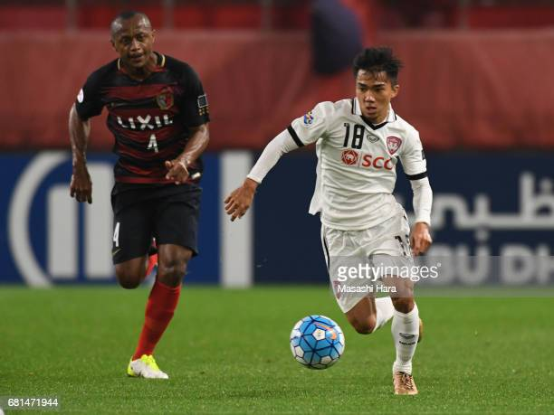 Chanathip Songkrasin of Muangthong United in action during the AFC Champions League Group E match between Kashima Antlers and Muangthong United at...