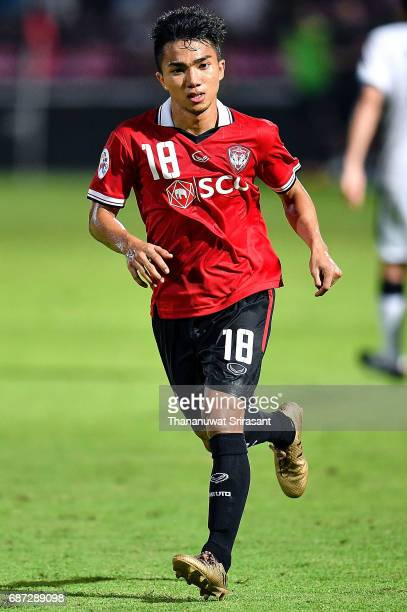 Chanathip Songkrasin of Muangthong United runs during the Asian Champions League Group of 16 match between Muangthong United and Kawasaki Frontale on...