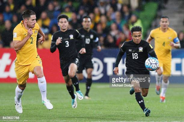 Chanathip Songkrasin of Thailand runs with the ball from Milos Degenek of the Socceroos during the 2018 FIFA World Cup Qualifier match between the...