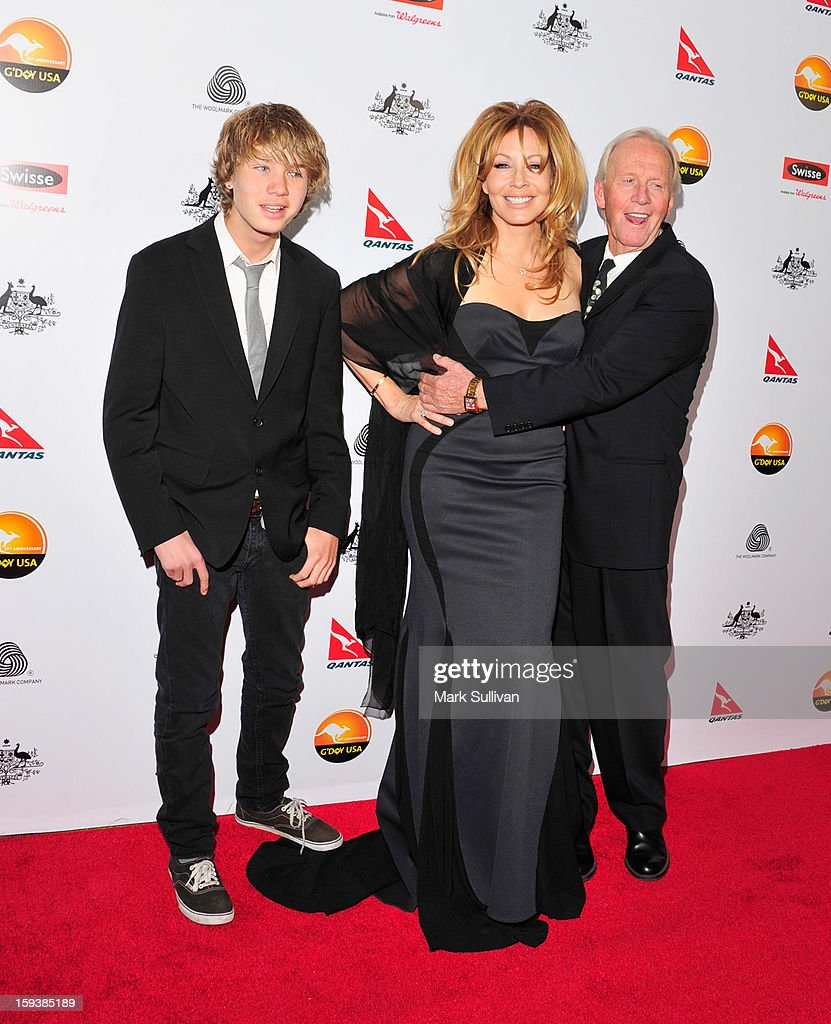 Chance Hogan, Linda Kozlowski and actor Paul Hogan arrive for the G'Day USA Black Tie Gala held at at the JW Marriot at LA Live on January 12, 2013 in Los Angeles, California.