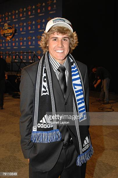 Chance Myers of UCLA poses for a photo after being selected first in the MLS Super Draft on January 18 2008 at the Baltimore Convention Center in...