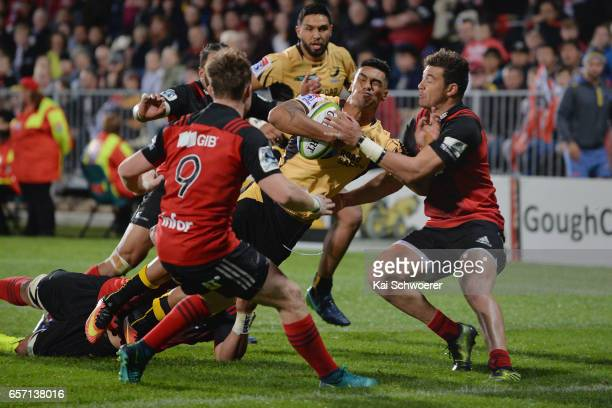 Chance Peni of the Force runs through to score a try during the round five Super Rugby match between the Crusaders and the Force at AMI Stadium on...