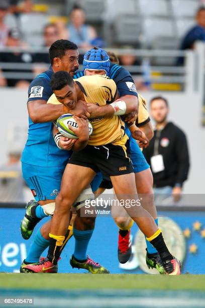 Chance Peni of the Western Force is tackled during the round six Super Rugby match between the Blues and the Force at Eden Park on April 1 2017 in...