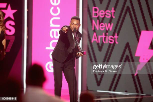 Chance The Rapper accepts the award for Best New Artist onstage at 2017 BET Awards at Microsoft Theater on June 25 2017 in Los Angeles California