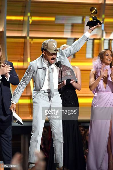 Chance the Rapper accepts the Best New Artist award onstage during The 59th GRAMMY Awards at STAPLES Center on February 12 2017 in Los Angeles...