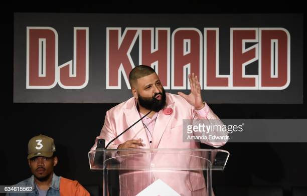 Chance the Rapper and DJ Khaled attend a special press conference where DJ Khaled announced the title of his new album is going to be 'Grateful'' at...