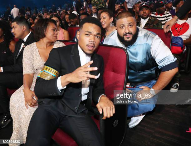 Chance the Rapper and DJ Khaled in the audience at 2017 BET Awards at Microsoft Theater on June 25 2017 in Los Angeles California