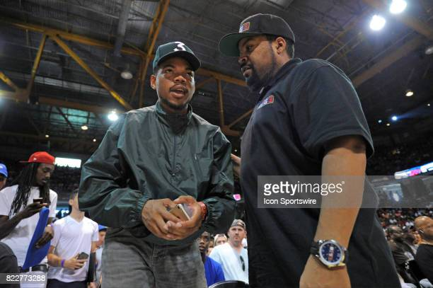 Chance the Rapper and Ice Cube during a BIG3 basketball league game on July 23 at the UIC Pavilion in Chicago IL